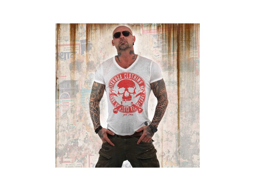 Yakuza BURNOUT DAILY JOLLY tričko pánske TSB 13037 white