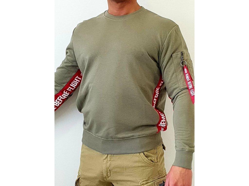 Alpha Industries RBF INLAY Sweater olive mikina pánska