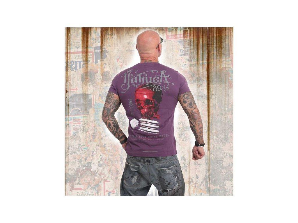 Yakuza NEVER STOP tričko pánske TSB 14055 deep purple