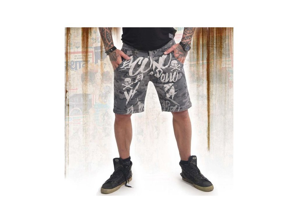 Yakuza cargo šortky EL BASTARDO CSB 14039 camouflage grey