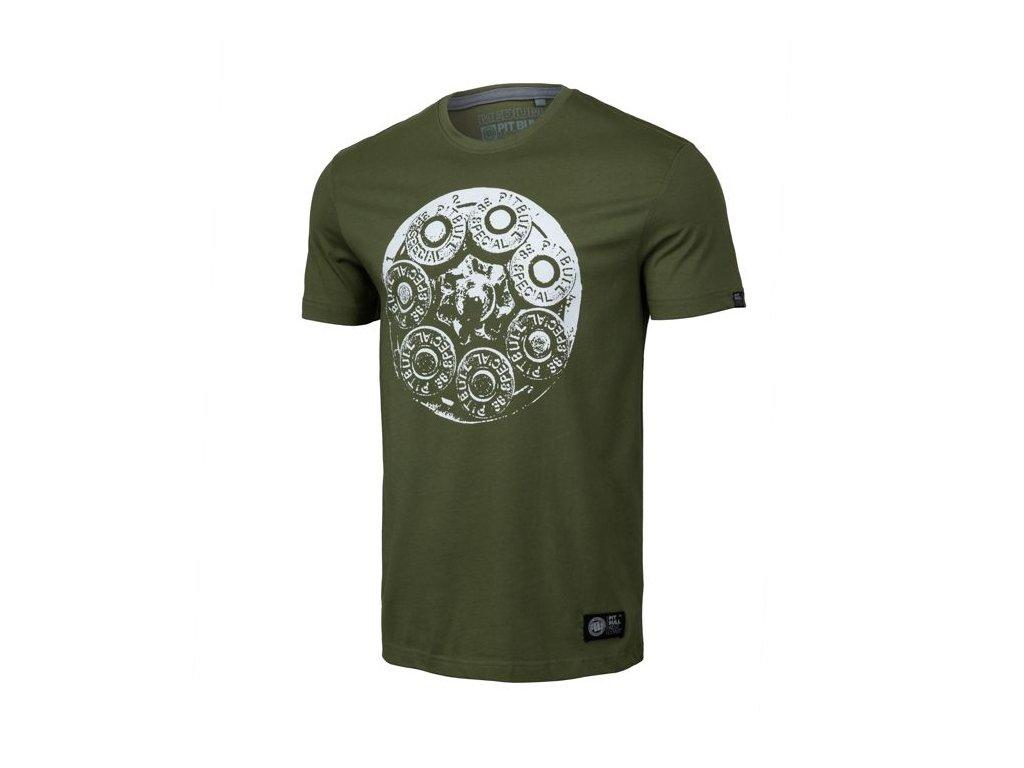 PitBull West Coast TRAY EIGHT19 Olive tričko pánske