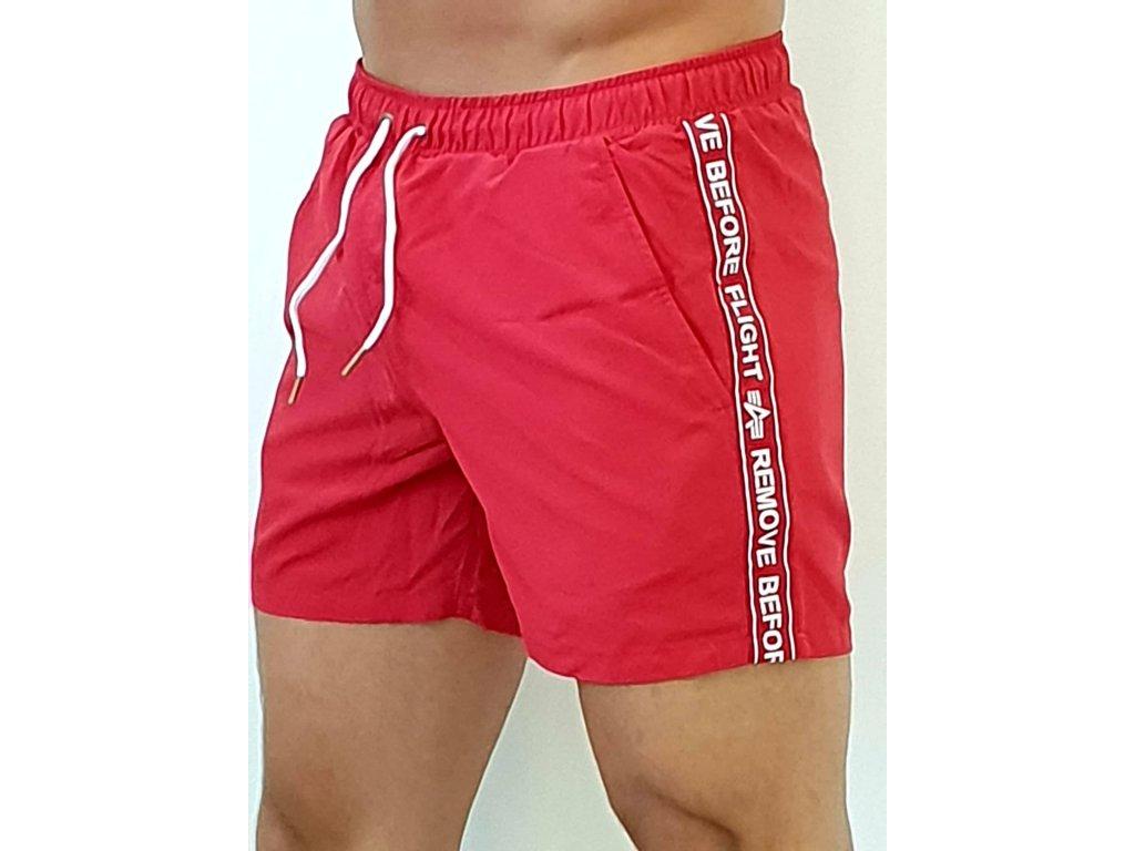Alpha Industries plavkové šortky RBF Tape Swim Short speed red