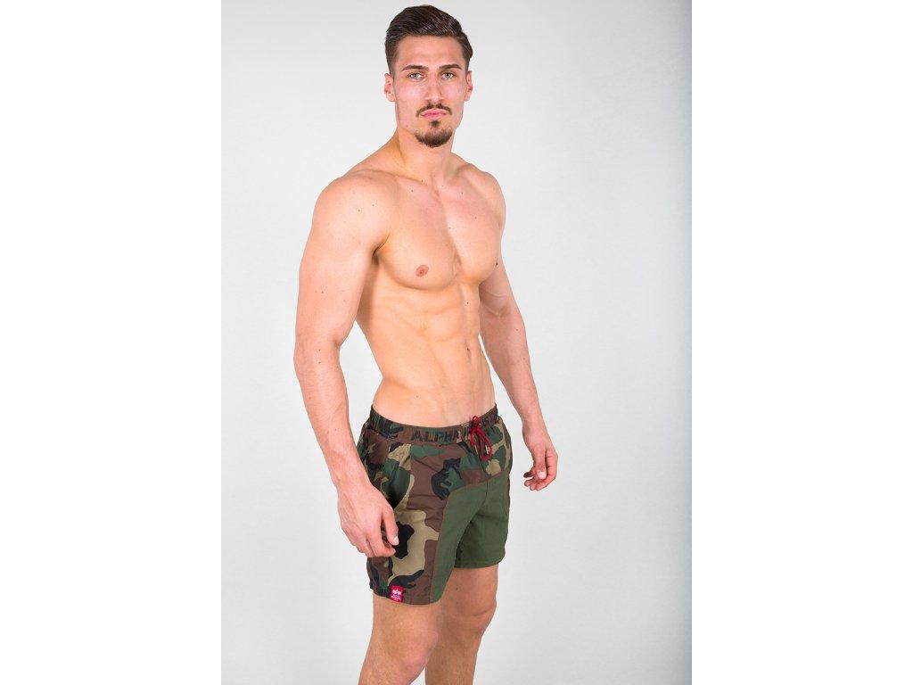 Alpha Industries plavkové šortky Camo Swim Short woodl camo g