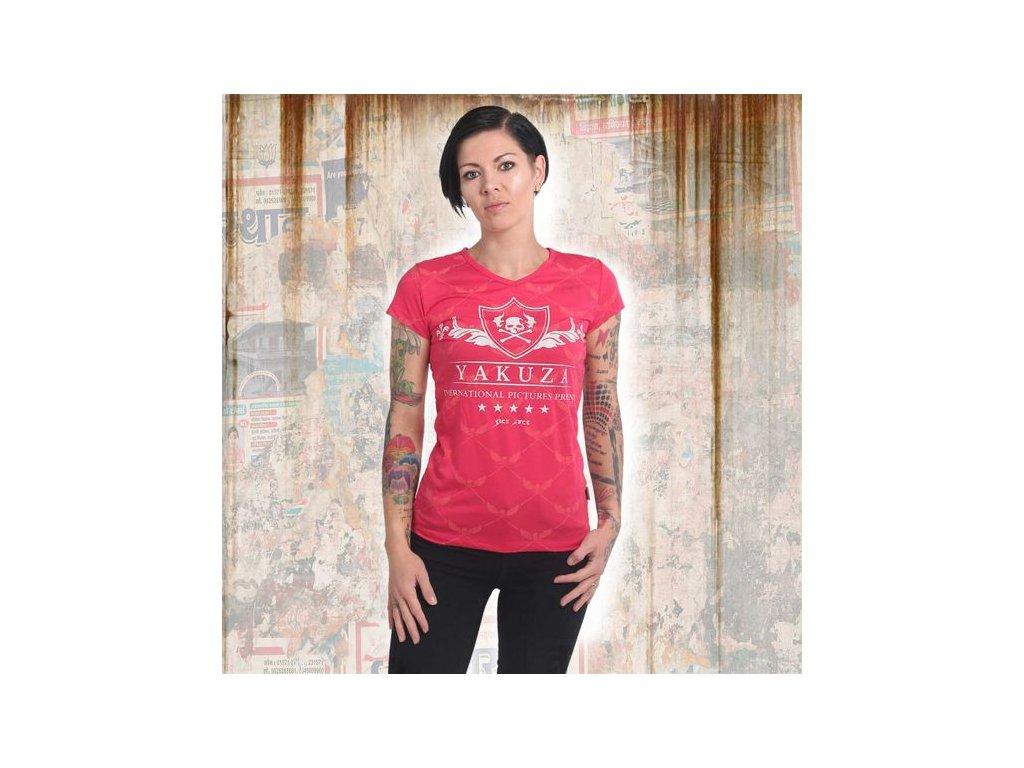 Yakuza CREST V NECK dámske tričko GSB 14141 rose red