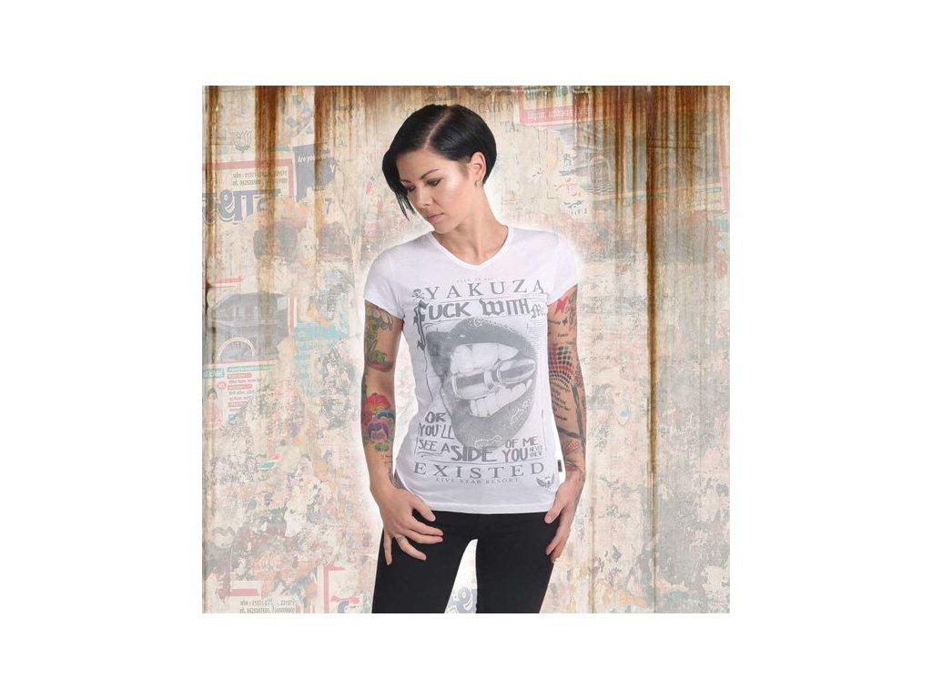 Yakuza FUCK WITH ME V NECK dámske tričko GSB 14143 white