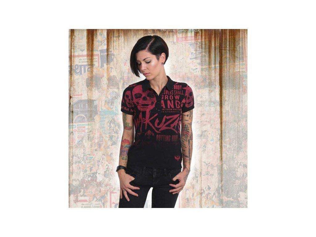 Yakuza dámske polo tričko ROTTING BODY GRADIENT PIQUE POLO GPO 14159 black
