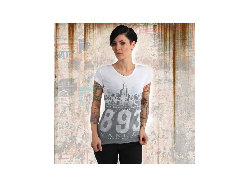 Yakuza SKYLINE V NECK dámske tričko GSB 14148 white