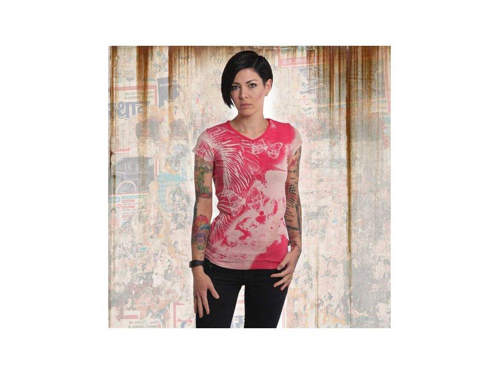 Yakuza BUTTERFLY V NECK dámske tričko GSB 14149 rose red