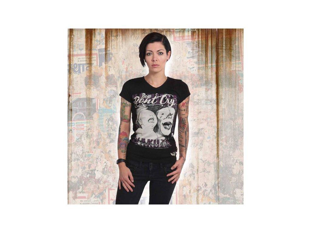 Yakuza BOYS DON´T CRY V NECK dámske tričko GSB 14152 black