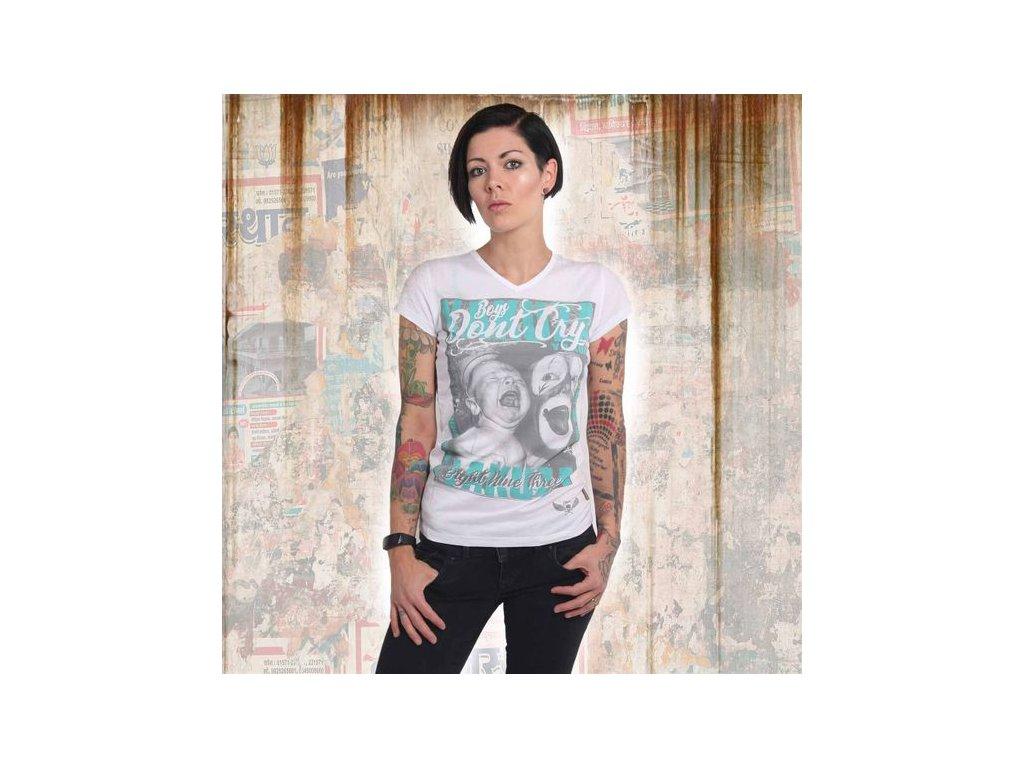 Yakuza BOYS DON´T CRY V NECK dámske tričko GSB 14152 white