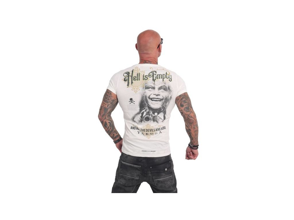 Yakuza HELL IS EMPTY burnout tričko pánske TSB 14061 white