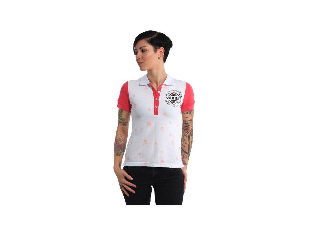 Yakuza dámske polo tričko SKULLS N STAR PIQUE POLO GPO 14160 white
