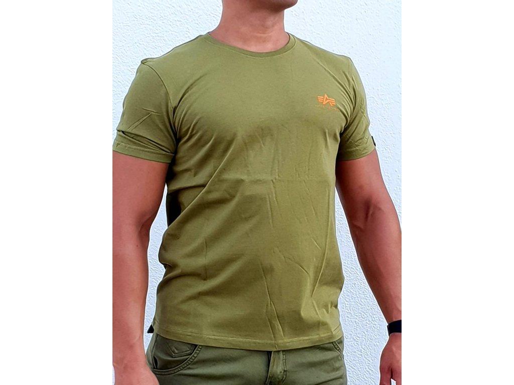 Alpha Industries Basic T Small logo Khaki Green tričko pánske