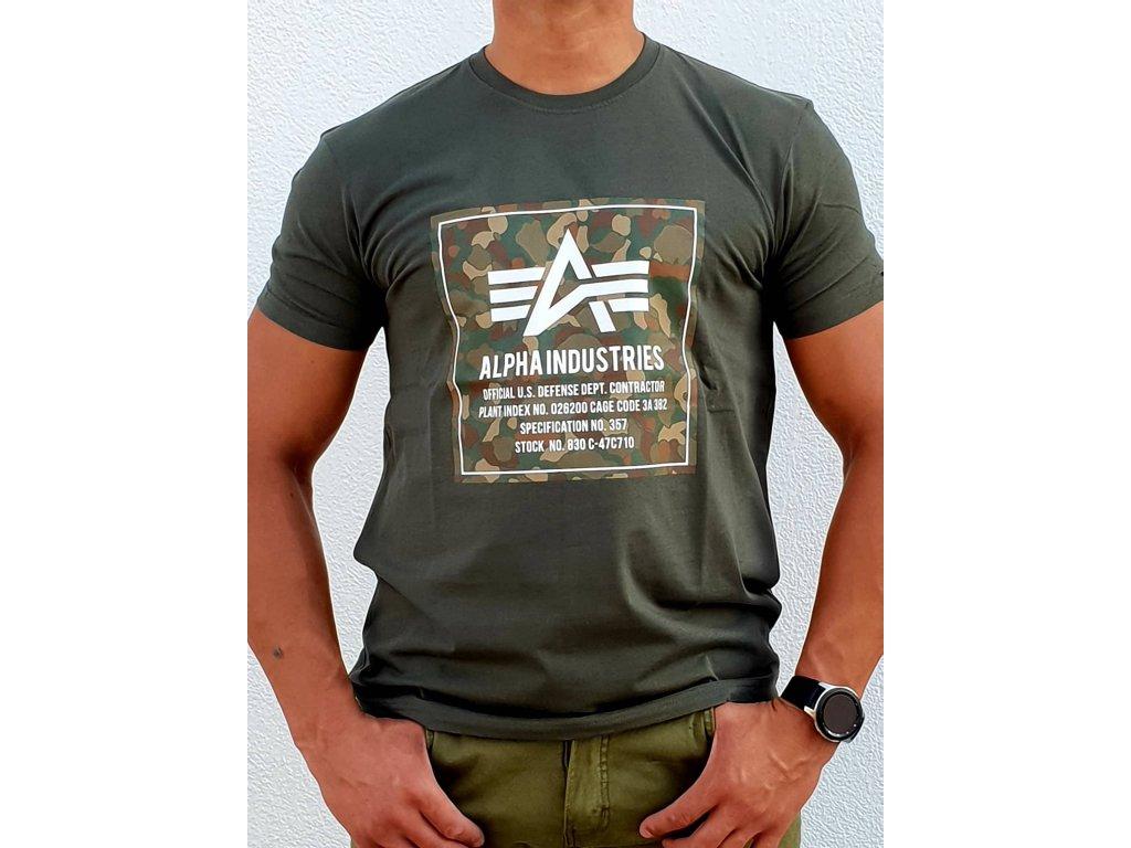 Alpha Industries CAMO BLOCK T dark olive tričko pánske