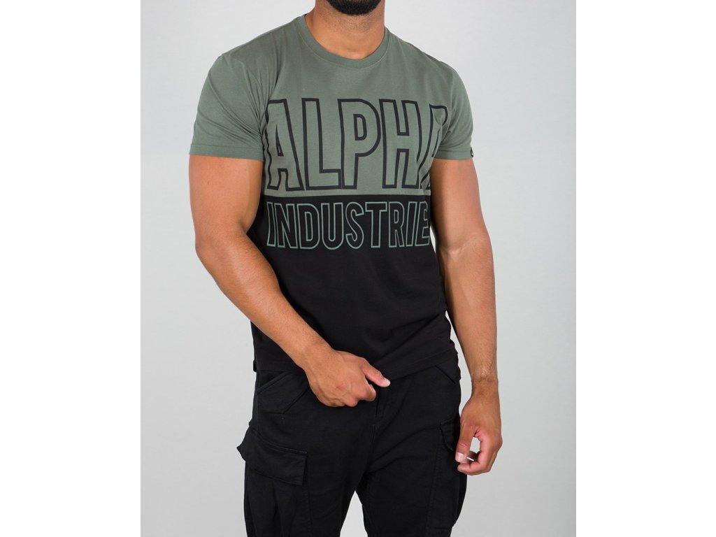 Alpha Industries BLOCK T vintage green tričko pánske