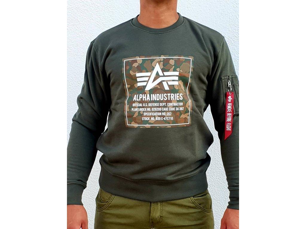 Alpha Industries CAMO BLOCK Sweater dark olive mikina pánska