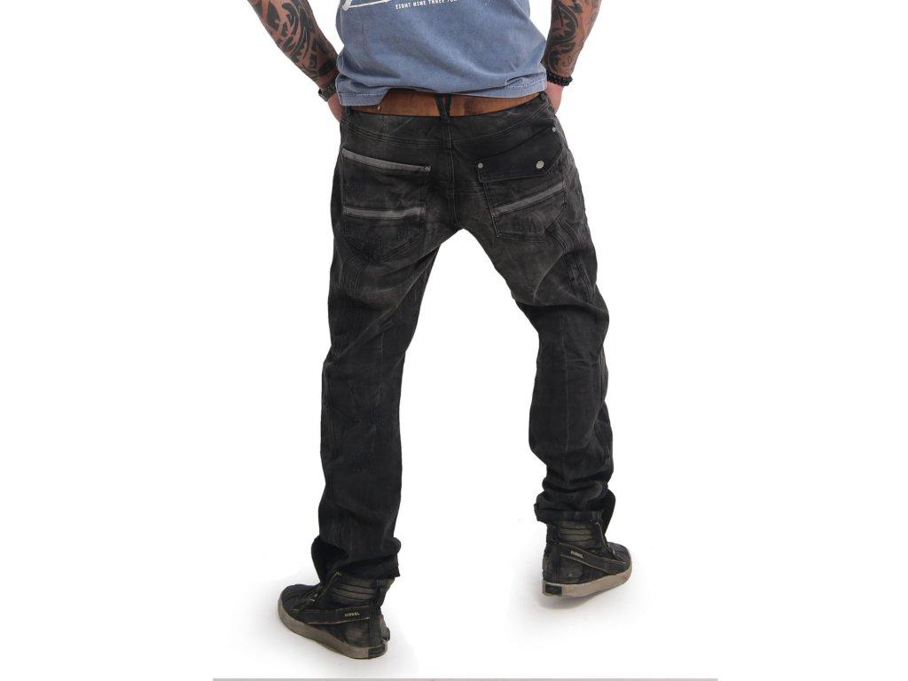 Yakuza pánske jeansy BIKER FLAP STRAIGHT JEANS CPB 14083 black vintage