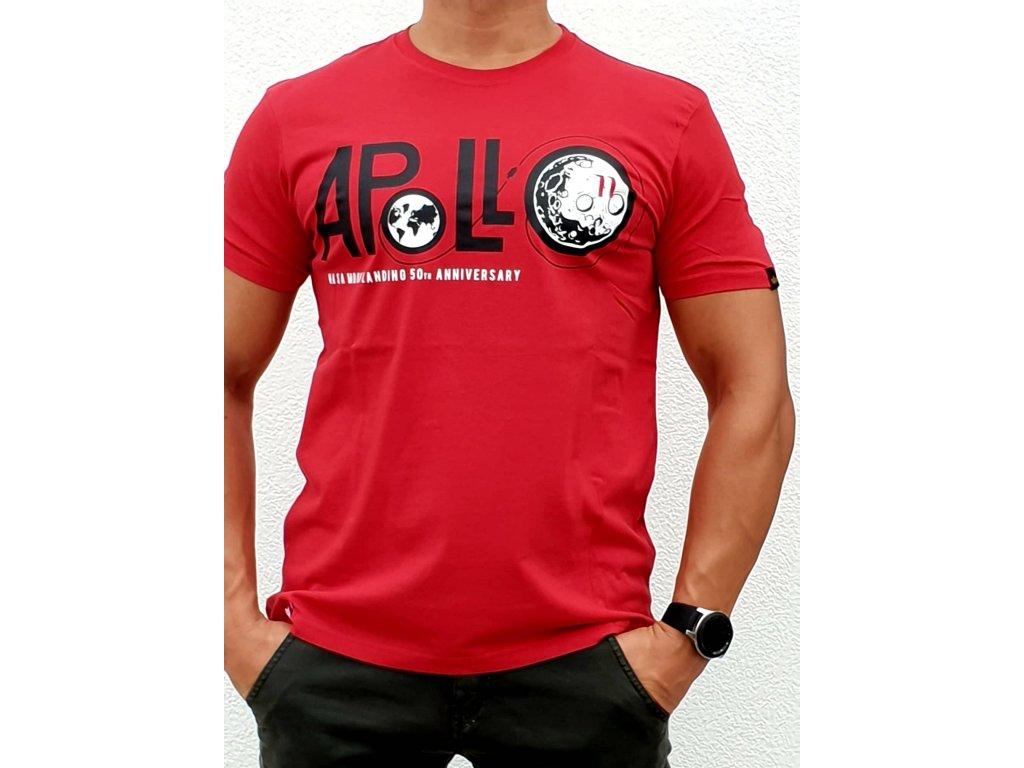 Alpha Industries Apollo 50 T speed red tričko pánske