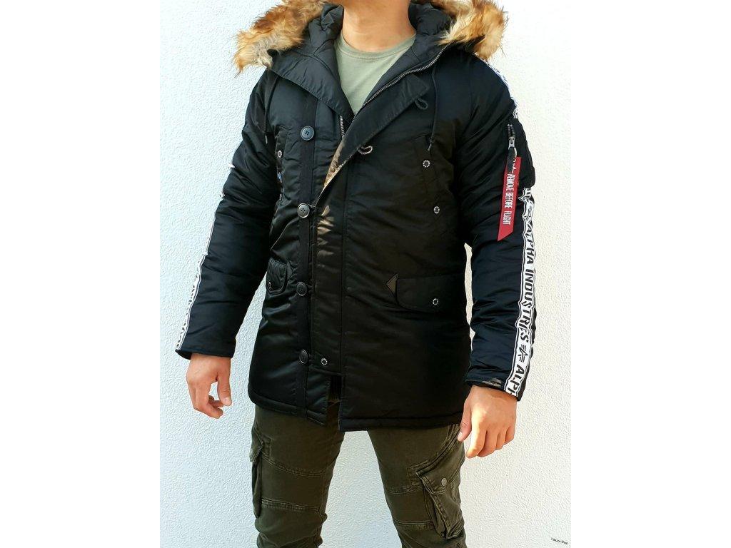 Alpha Indvyrp12 8767Alpha Industries N 3B AI Tape zimna bunda black a