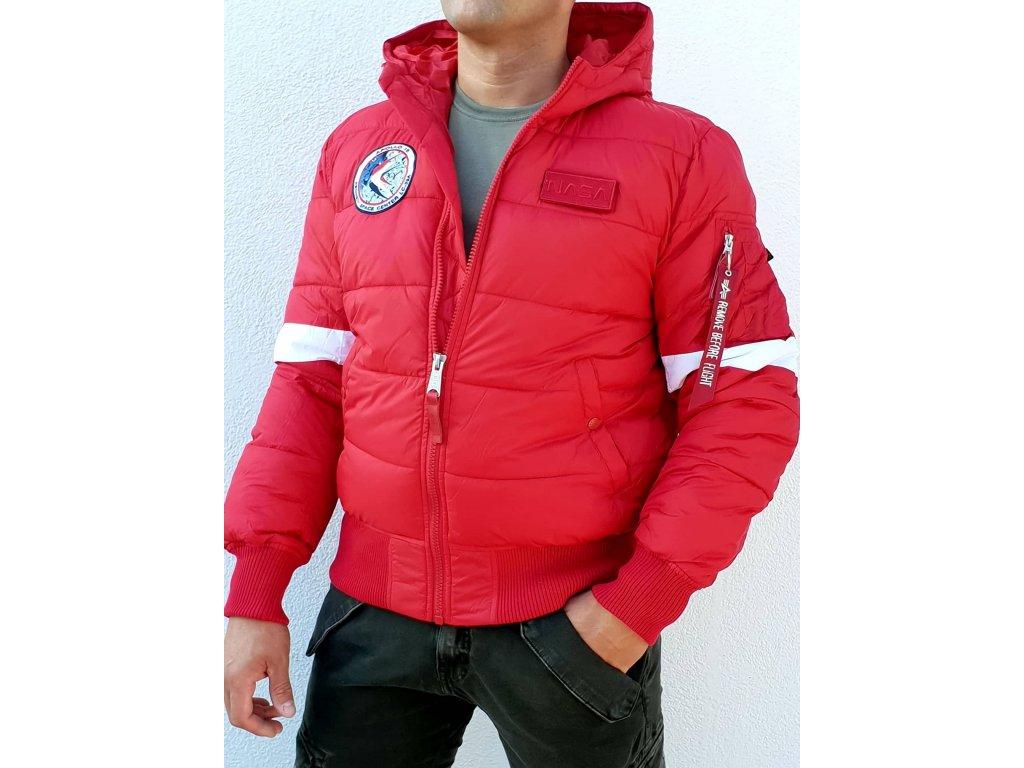 Alpha Industries Hooded Puffer FD NASA zimná bunda speed red