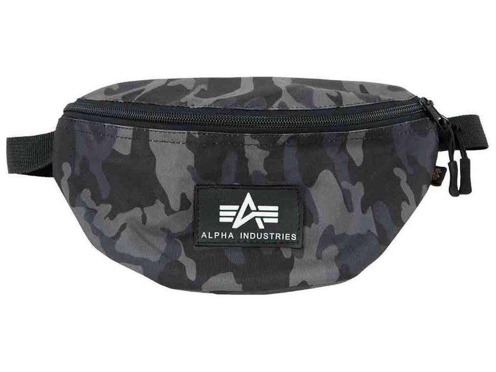 Alpha Industries Rubber Print Waist Bag blackcamo ľadvinka-taška