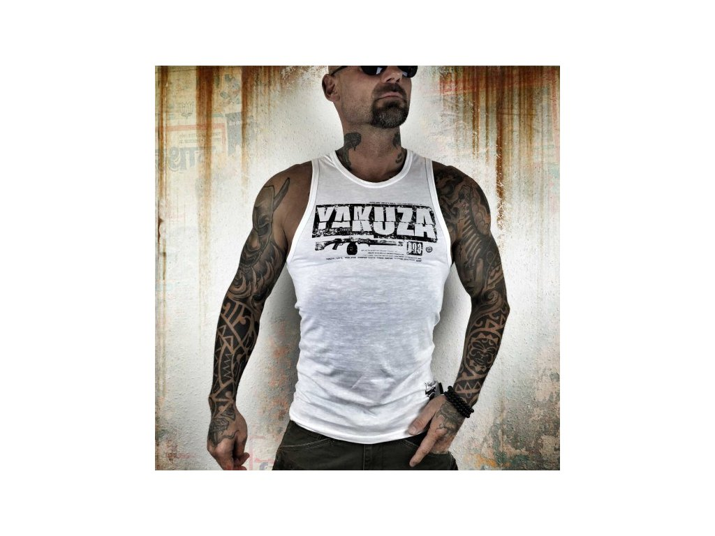 Yakuza tielko Skull & Rifle UHB 8056 white