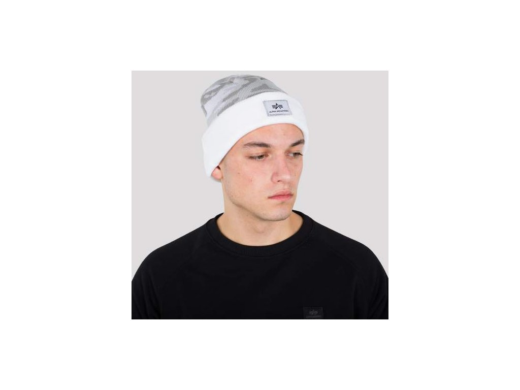 Alpha Industries X-Fit Camo Beanie čiapka white camo