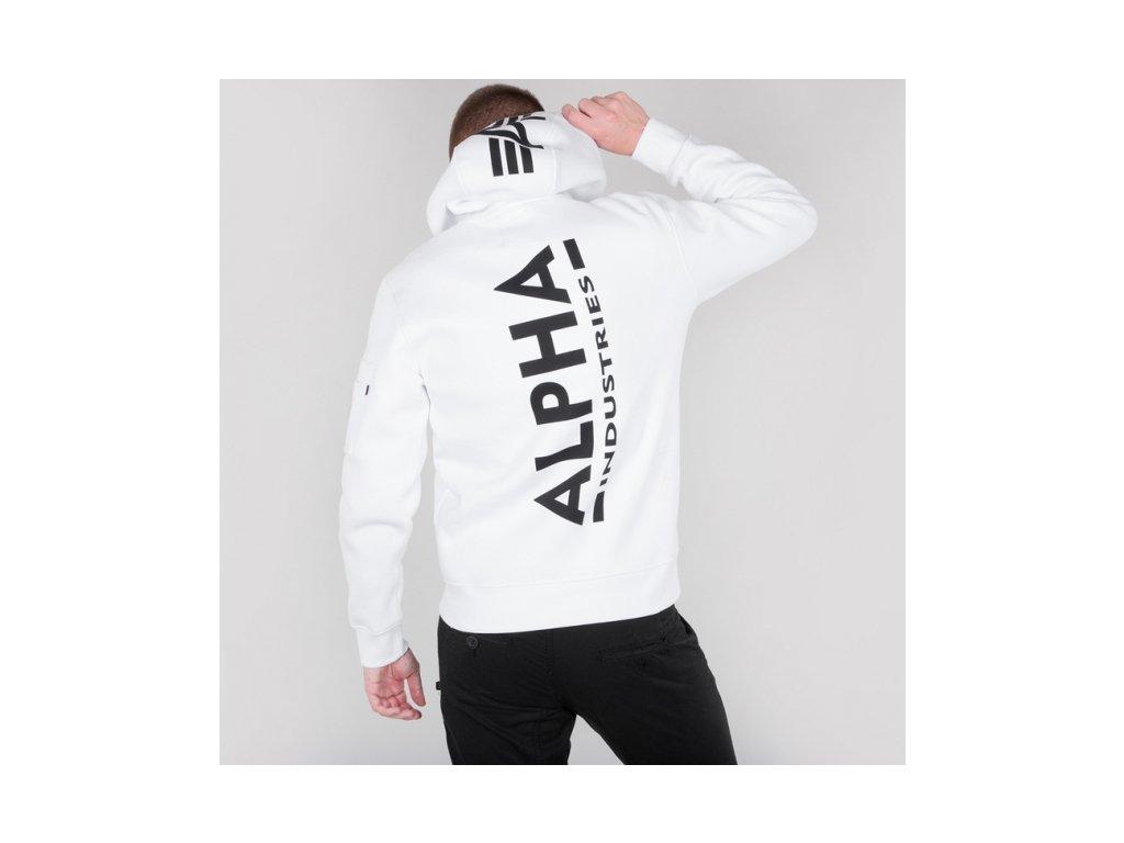 Alpha Industries Back Print Hoody pánska mikina white