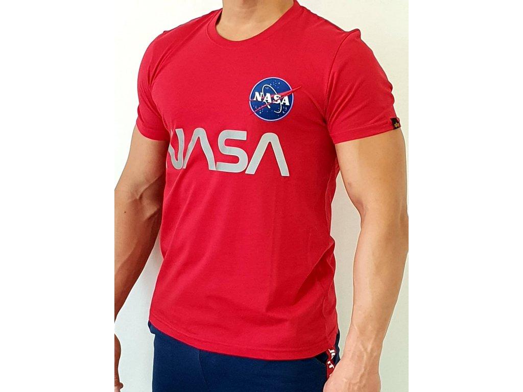 Alpha Industries NASA Reflective T speed red tričko pánske
