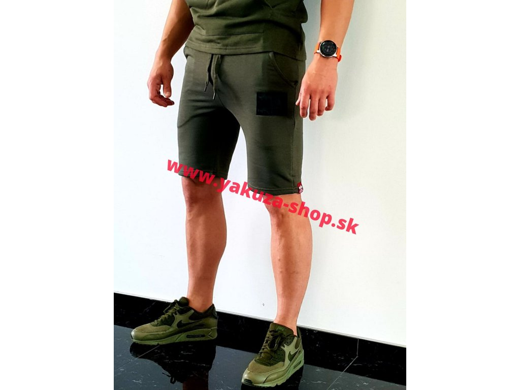 Alpha Industries RUBBER PATCH Short dark olive pánske šortky