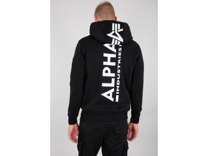 Alpha Industries BACK PRINT ZIP HOODY black pánska mikina f