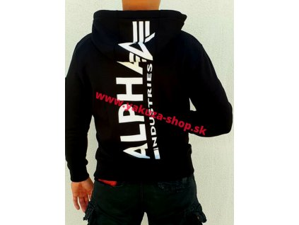 Alpha Industries BACK PRINT ZIP HOODY black pánska mikina