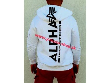 Alpha Industries BACK PRINT ZIP HOODY white pánska mikina