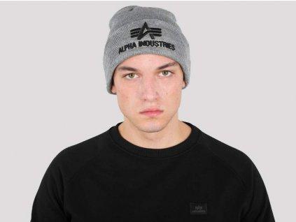 Alpha Industries 3D Beanie grey čiapka
