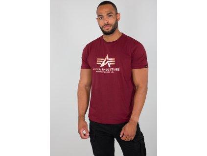 Alpha Industries Basic T Shirt Foil Print Burgundy Gold tričko pánske