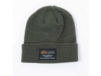 Alpha Industries Crew Beanie čiapka dark green a