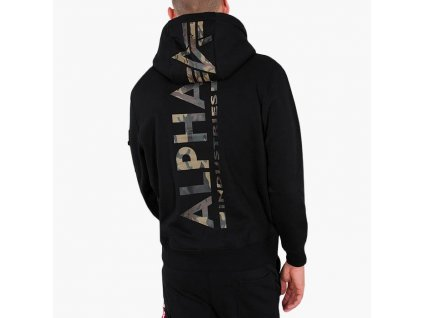 Alpha Industries Back Print Hoody pánska mikina black woodland