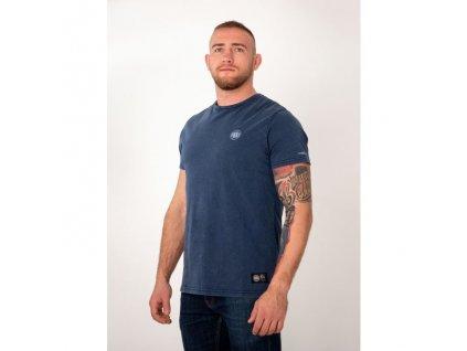 PitBull West Coast tričko pánske WASHED SMALL LOGO blue