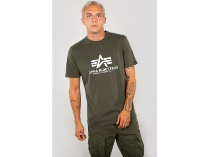 Alpha Industries Basic T Shirt Reflective Print tričko pánske dark olive a