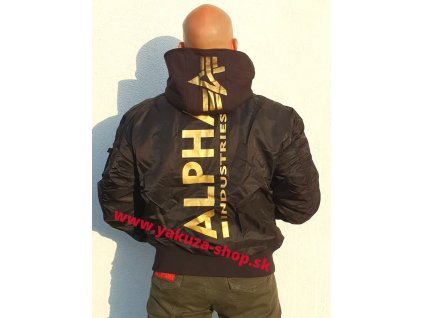 Alpha Industries zimná bunda MA 1 ZH BACK PRINT black yellow gold