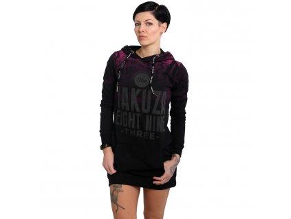 Yakuza dámske šaty s kapucňou ALLOVER LITE GKB 16155 black