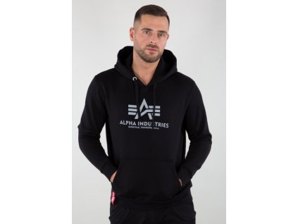 Alpha Industries BASIC HOODY REFLECTIVE PRINT black pánska mikina e
