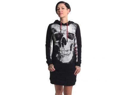 Yakuza dámska dlhá mikina šaty SKULL TWO FACE GKB 17113 black