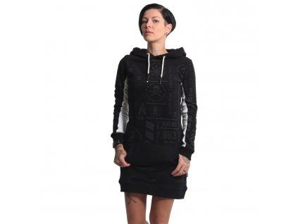 Yakuza dámska dlhá mikina šaty ALLOVER PATERN GKB 17114 black