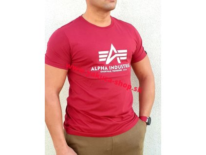 Alpha Industries Basic T Shirt RBF Red tričko pánske D