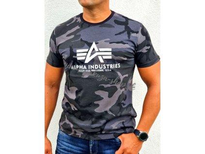 Alpha Industries Basic T Shirt Camo tričko pánske black camo c