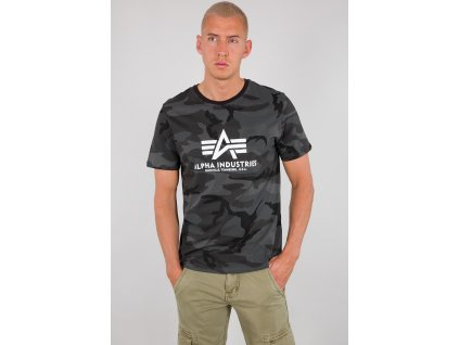 Alpha Industries Basic T Shirt Camo tričko pánske black camo