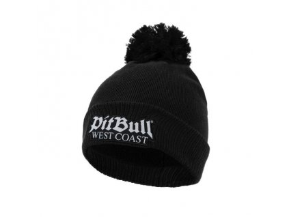 Pitbull West Coast zimná pletená čiapka ONE TONE OLD LOGO black s brmbolcom