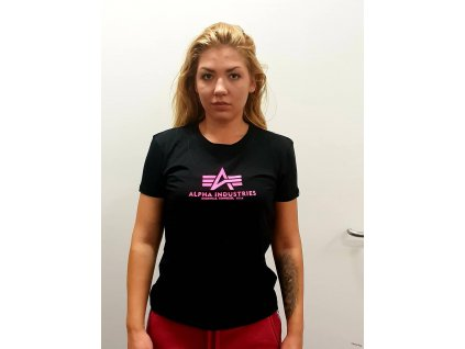Alpha Industries New Basic T Wmn Black Neon pink dámske tričko