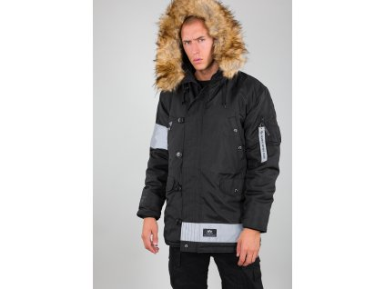 Alpha Industries N3 B Reflective stripes pánska zimná bunda black